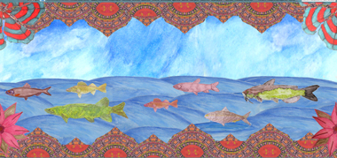 "One of the designs (""Fish Flow"") that you can vote for in the Philadelphia Water Department's Rain Barrel Art Contest"