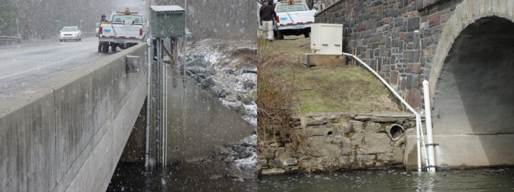 Automated sampling equipment used to collect water samples during storm events
