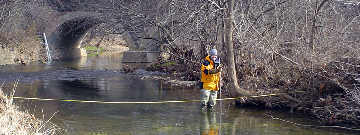 Measuring streamflow in Wissahickon Creek