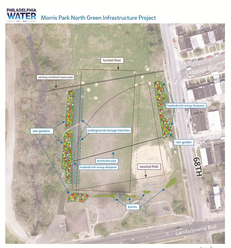 The map above outlines some of the proposed improvements at Morris Park in Overbrook. Click for a larger image.