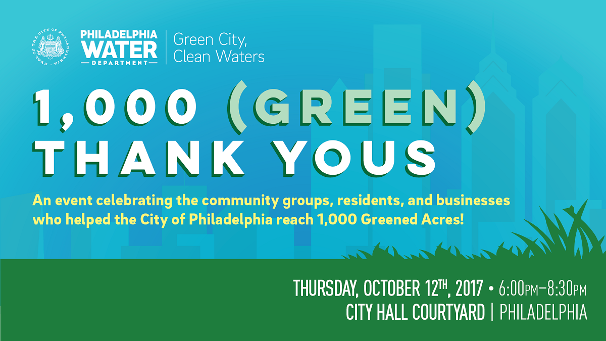 RSVP now for an Oct. 12 celebration marking 1000 Greened Acres. Come to City Hall from 6 to 830 p.m.