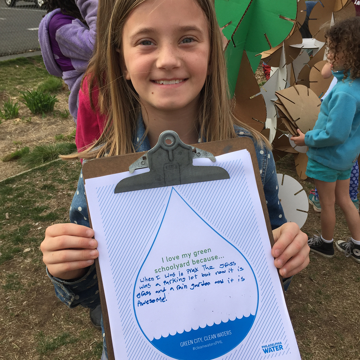 Students filled out cards that let them tell their Green City, Clean Waters story on Earth Day. You can take part and tell your story at Science Fest! Credit: Philadelphia Water