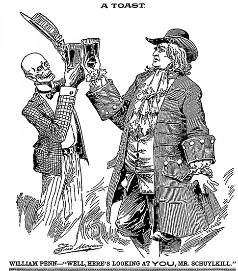 A cartoon from August, 1898 addresses typhoid in Schuylkill River drinking water.