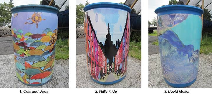 Three wrapped rain barrels