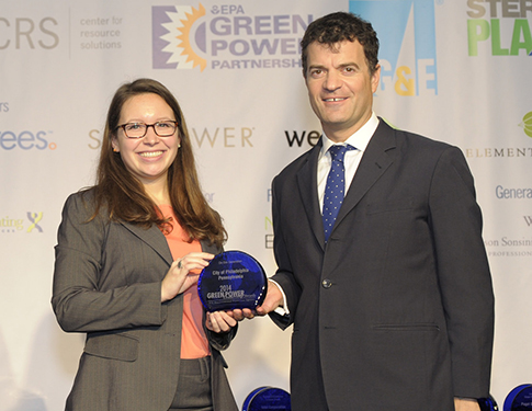 Amanda Byrne accepts EPA Green Power Leadership Award