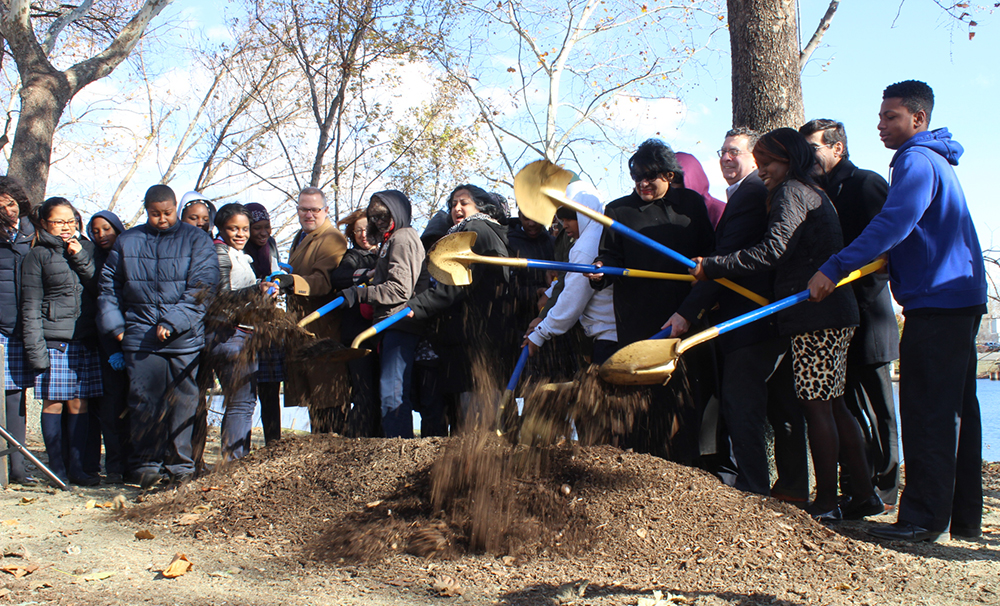 It's official: Philadelphia students joined Parks and Recreation, Philadelphia Water and other partners in a Bartram's Mile ground breaking ceremony on Nov. 23. Credit: Philadelphia Water