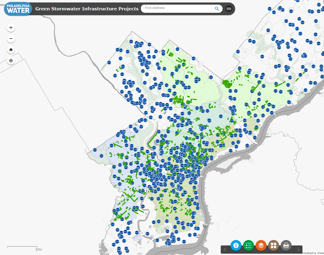 Philadelphia Stormwater Map NEW Big Green Map with Photo | Philly Watersheds