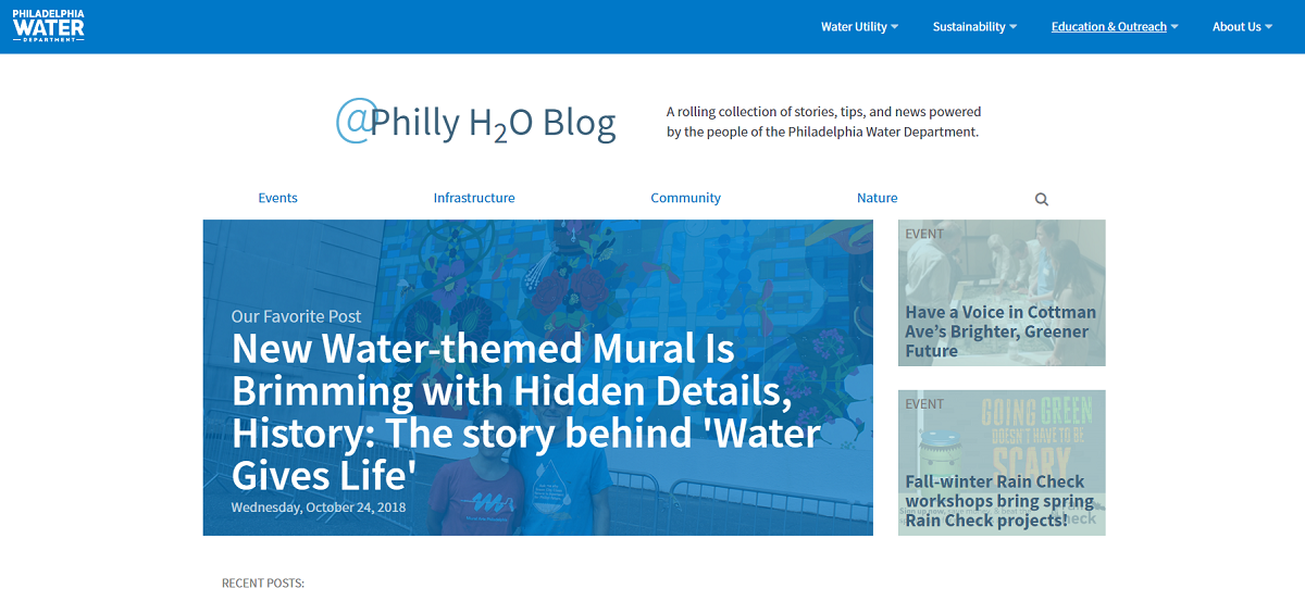 A screen shot of the new blog over at www.water.phila.gov/blog