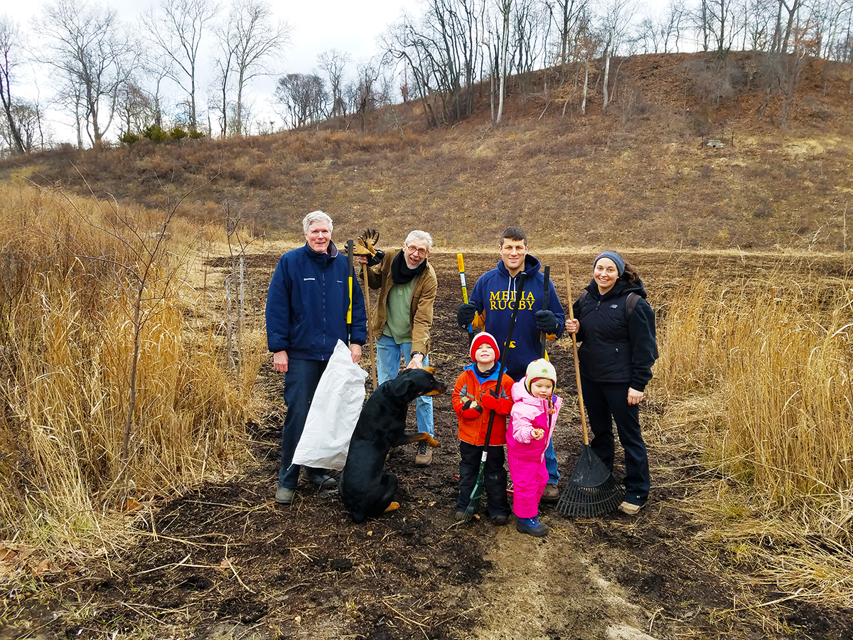 The members of The Friends of Upper Roxborough Reservoir Preserve seen here held a cleanup and planted wildflower meadow seed mix at a green stormwater swale located along Summit Avenue in Roxborough.
