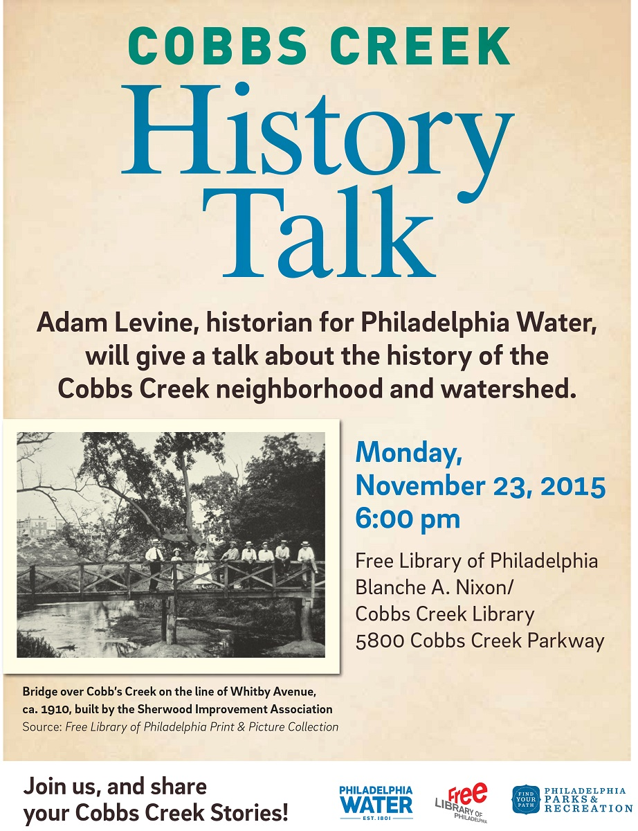 Come out to the Cobbs Creek Library on Nov. 23 at 6 p.m. and learn the amazing story behind Cobbs Creek!
