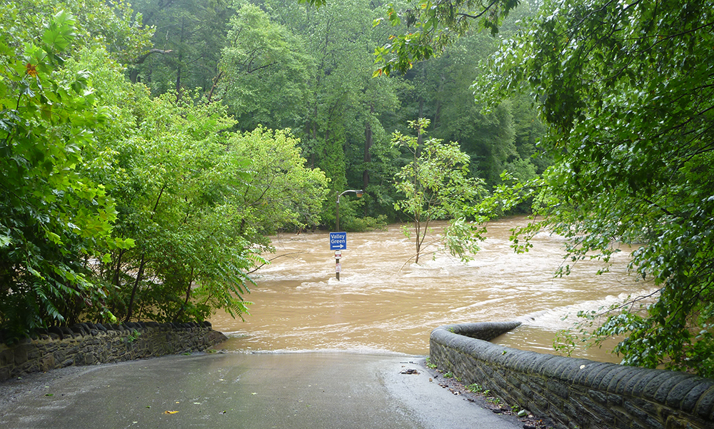 Flooding from Hurricane Irene in 2011 raised the Schuylkill River to levels not seen in 140 years. Climate change is projected to bring more extreme storms to the region. Credit: Philadelphia Water