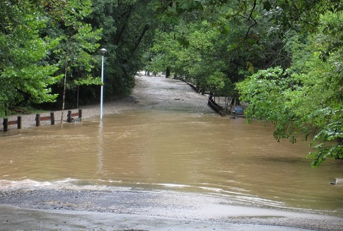 Flooding seen along Forbidden Drive in Fairmount Park during Hurricane Irene in 2011. In that storm, the Schuylkill River hit a high water mark not seen since 1869. Photo Credit: Philadelphia Water.