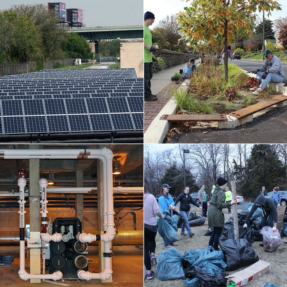 Philadelphia Water works to protect our rivers and planet in a number of ways. Clockwise from top left: Solar panels at our Southeast Water Pollution Control Plant; a Green City, Clean Waters tree trench in East Falls; part of our Biogas Cogeneration system at the Northeast WPCP; Philadelphia Water volunteers at a March 2016 Bartram's Garden cleanup that removed 12,927 pounds of trash from the Schuylkill River's banks.