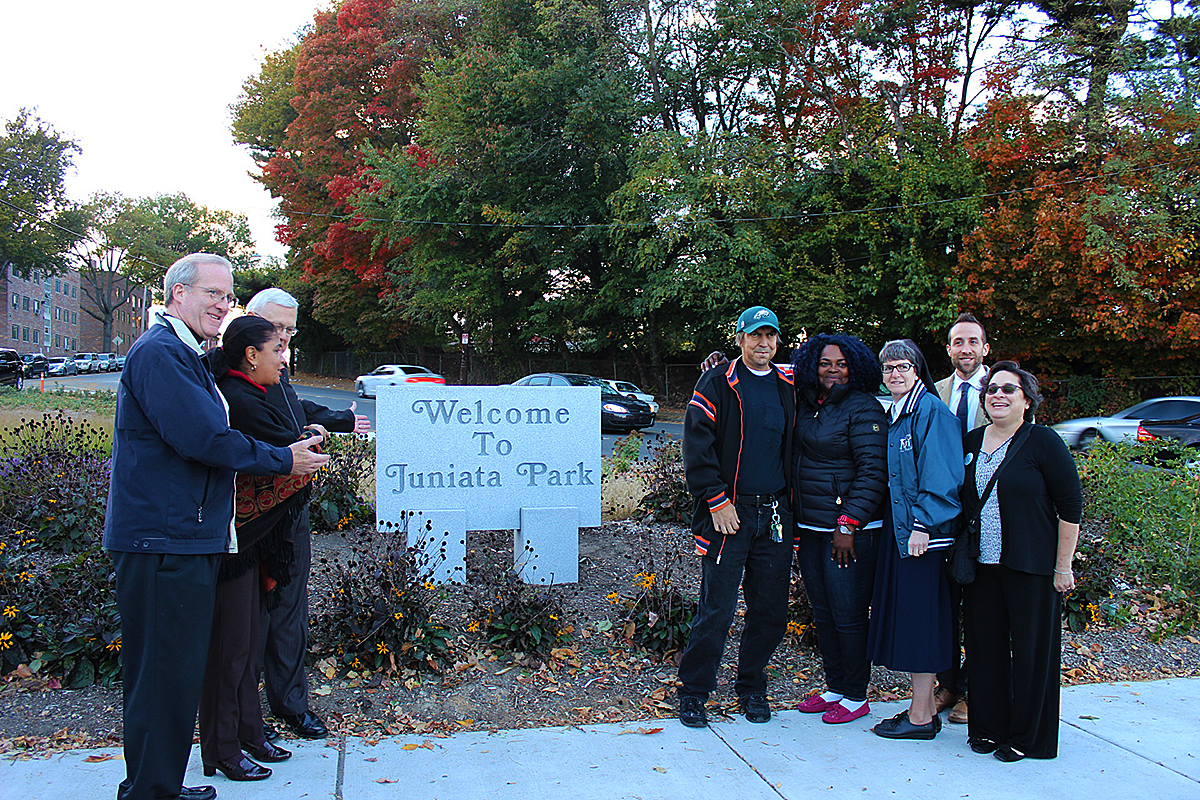 Pastor David Scudder at right and, at left, members of the community with PWD, Councilwoman Sanchez and TTF Watershed Partnership. Credit: PWD