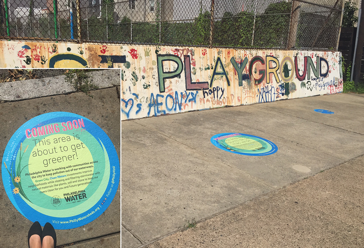 New decals near Hagert and Coral streets announce an upcoming Green City, Clean Waters project. Credit: Philadelphia Water