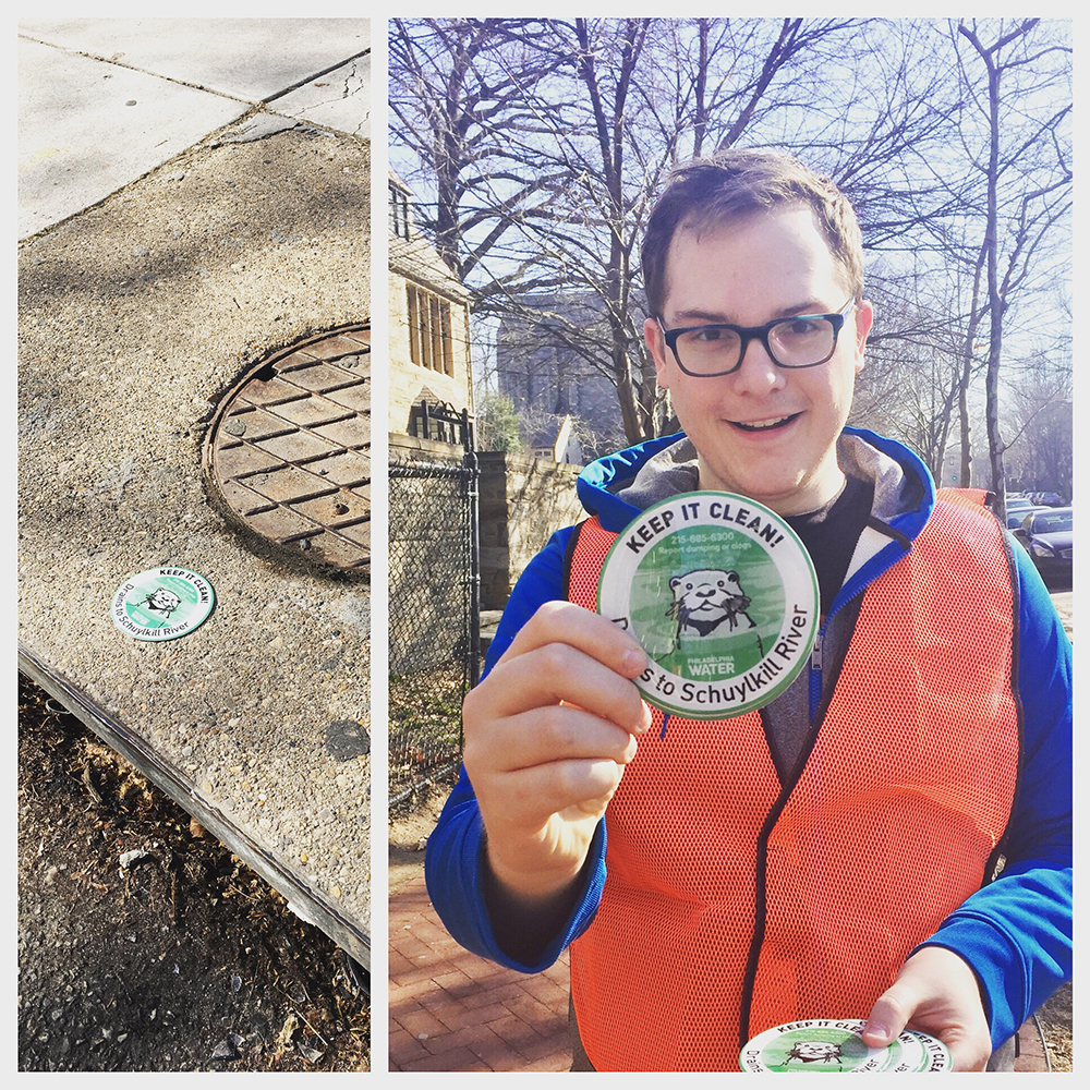A member of the PWD team took advantage of last month's warm spell to mark storm drains in his watershed. You can find your watershed critter and get a free kit too!
