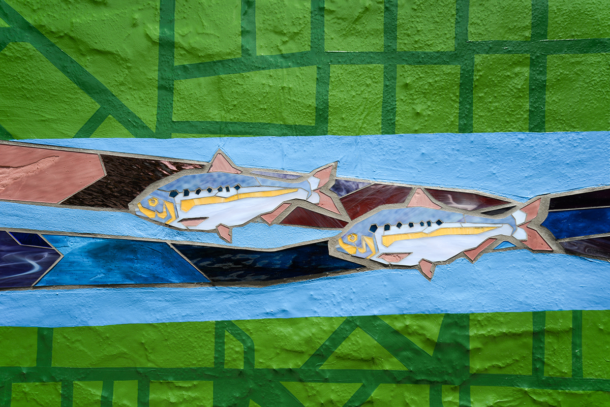 This is close-up image showing an American shad on the mural at 55th and Hunter Streets. The mural features raised and textured elements that make it pop off the wall.