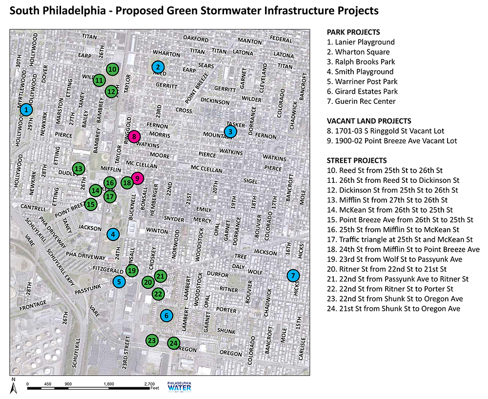This map shows the location of proposed green infrastructure investments near the Point Breeze neighborhood. Credit: Philadelphia Water.