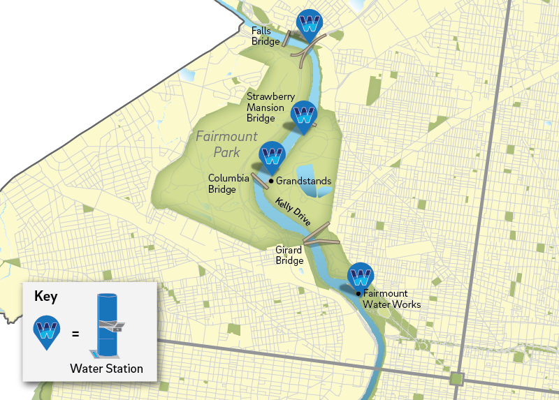 Map showing the location of water stations.