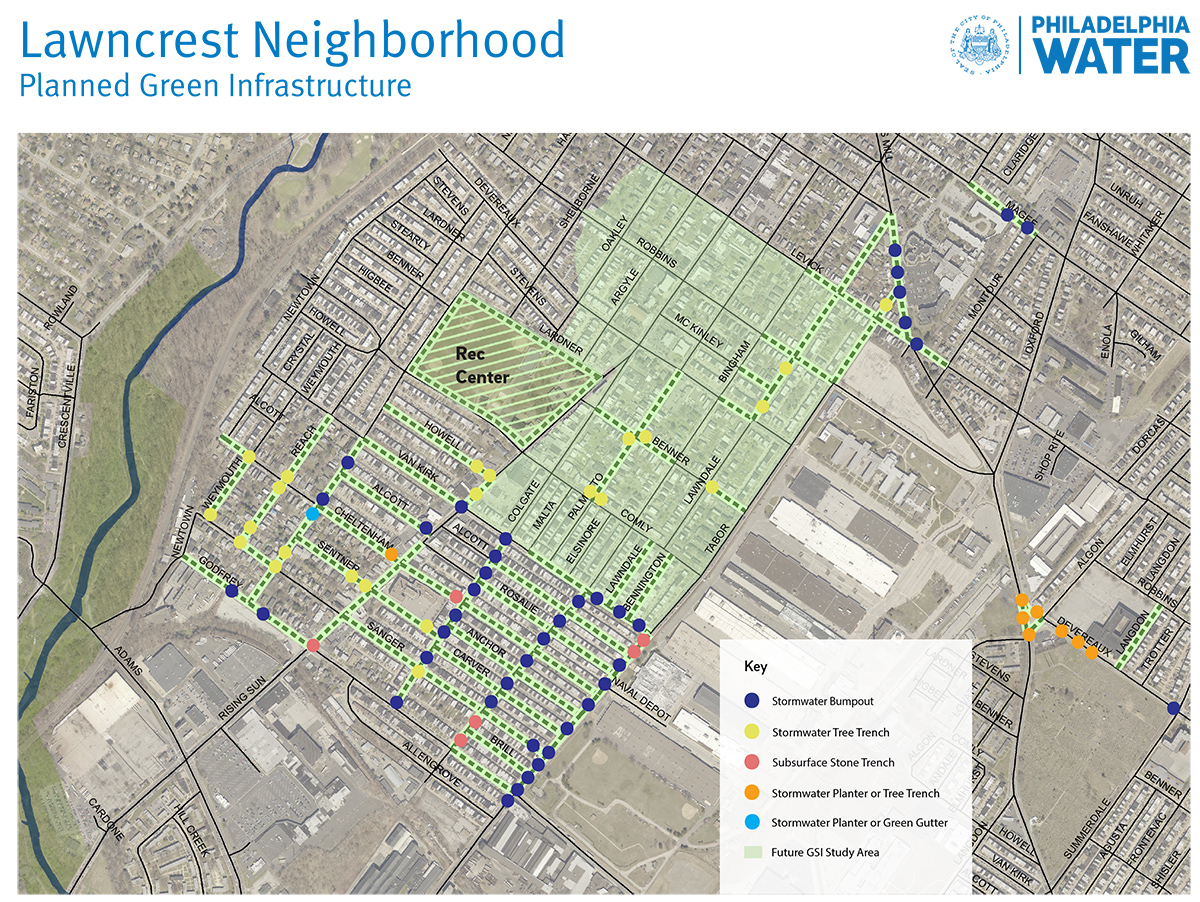 The map above shows the current plans proposed for the Lawncrest area.