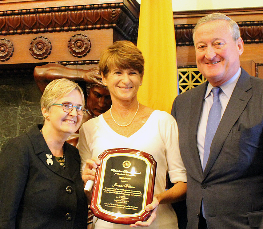 Joanne Dahme, General Manager of Public Affairs at the Philadelphia Water Department, with Commissioner Debra McCarty and Mayor Jim Kenney after receiving the Richardson Dilworth Award  for Excellence in Customer Service.