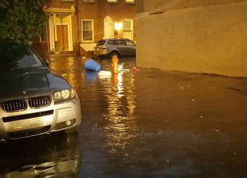 Northern Liberties flooding that occured after a July 9 downpour. Credit: Northern Liberties Neighbors Association.