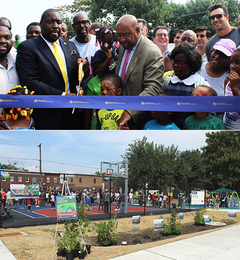 Top: City Councilman Kenyatta Johnson, Mayor Michael Nutter, Philadelphia Water Commissioner Howard Neukrug, Connor Barwin of the Philadelphia Eagles and others cut the ribbon to open Ralph Brooks Park in Point Breeze. Bottom: A new rain garden stretches along the basketball courts, which sit atop a storage trench that will hold stormwater. The rain garden will be filled with plants next month. Credit: Philadelphia Water.