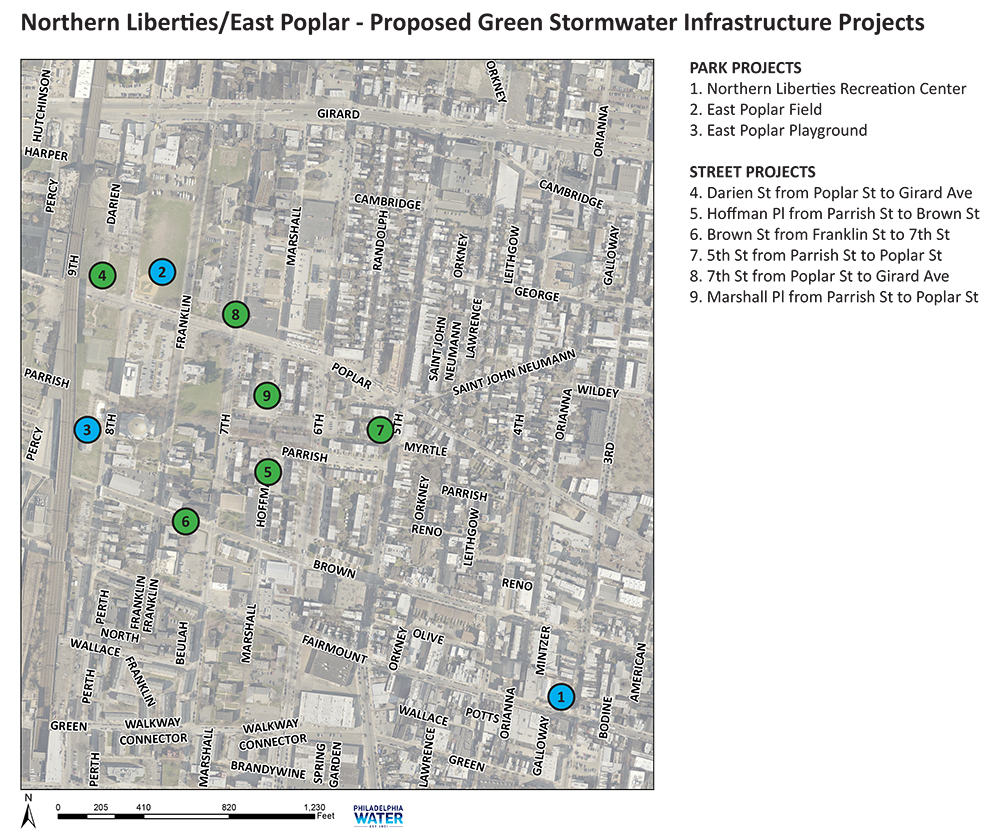 This map shows the location of proposed green infrastructure investments near the East Poplar neighborhood. Credit: Philadelphia Water.