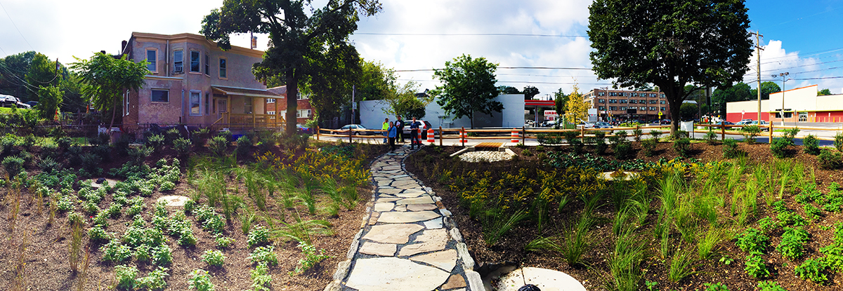 The community well celebrate the completion of this rain garden, located at Clearview Street and Washington Lane, at 3 p.m. on Wednesday November 9. Credit: Philadelphia Water