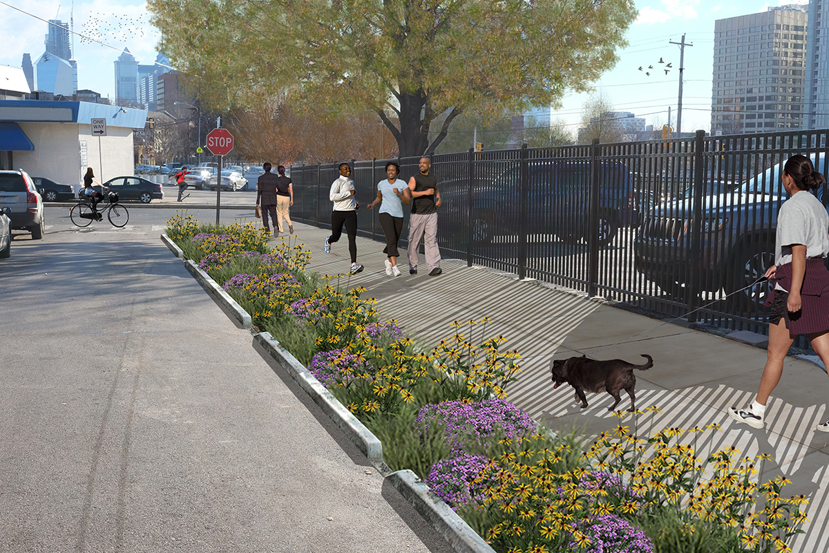 PWD will present plans for green improvements at a Phila. Police Department building, Saunders Park and local streets on Feb. 21. This drawing shows improvements that could come to Pearl Street.