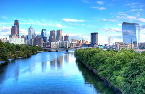 Schuylkill River and Philadelphia skyline