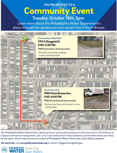 This map shows where PWD will meet for the Oct. 18 vacant lot tour.