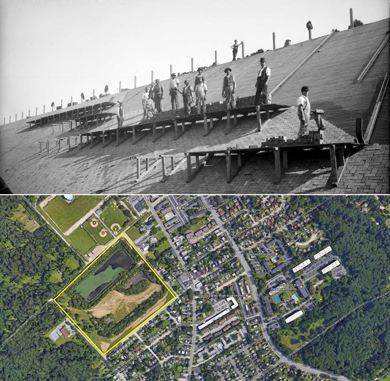 Then and Now: The historic photo at top, taken is Oct. 15, 1897, shows workers lining the Upper Roxborogh Reservoir with brick. The lower Google Maps image shows the site today, outlined in yellow. Credit: Phillyh2o.org