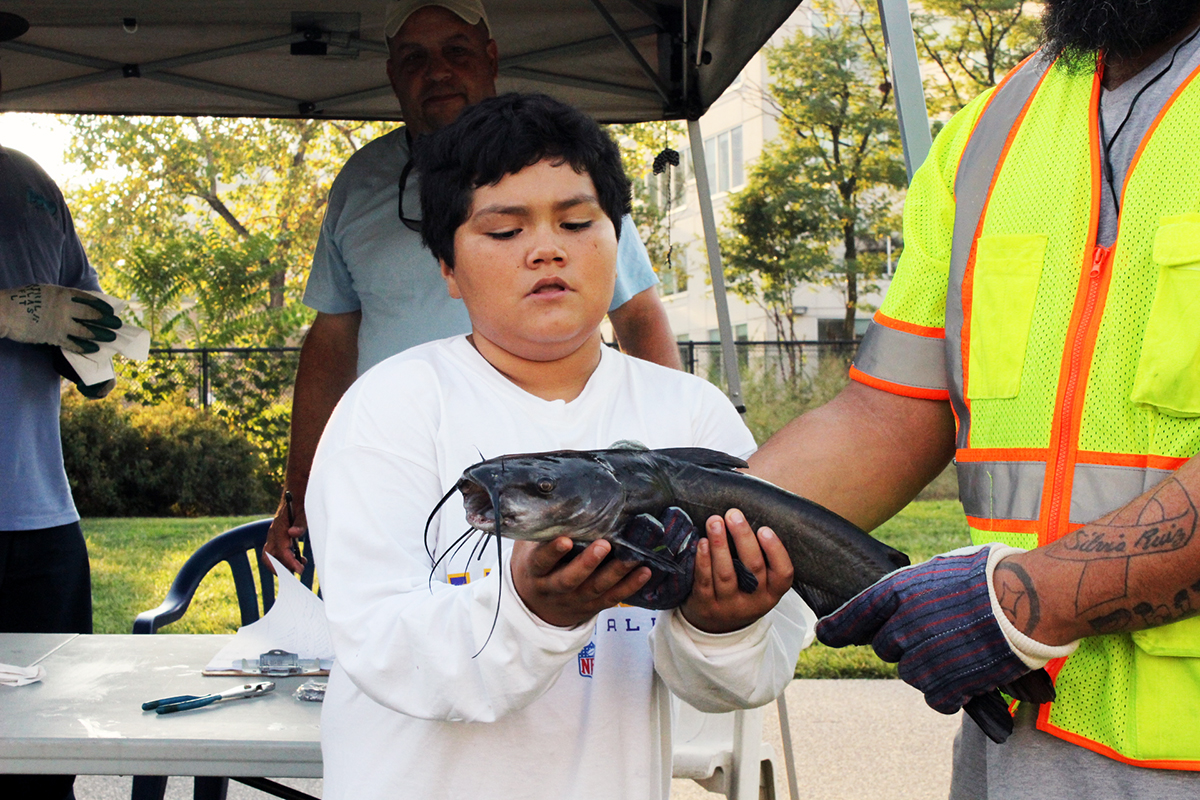 Alex Sandoval caught the biggest fish in the under 14 category with this 22-inch catfish. Credit: Philadelphia Water