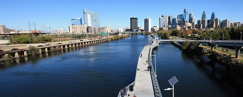 The Schuylkill River Trail, America's Best Urban Trail, in Center City. Photo courtesy of Montgomery County Planning Commission.