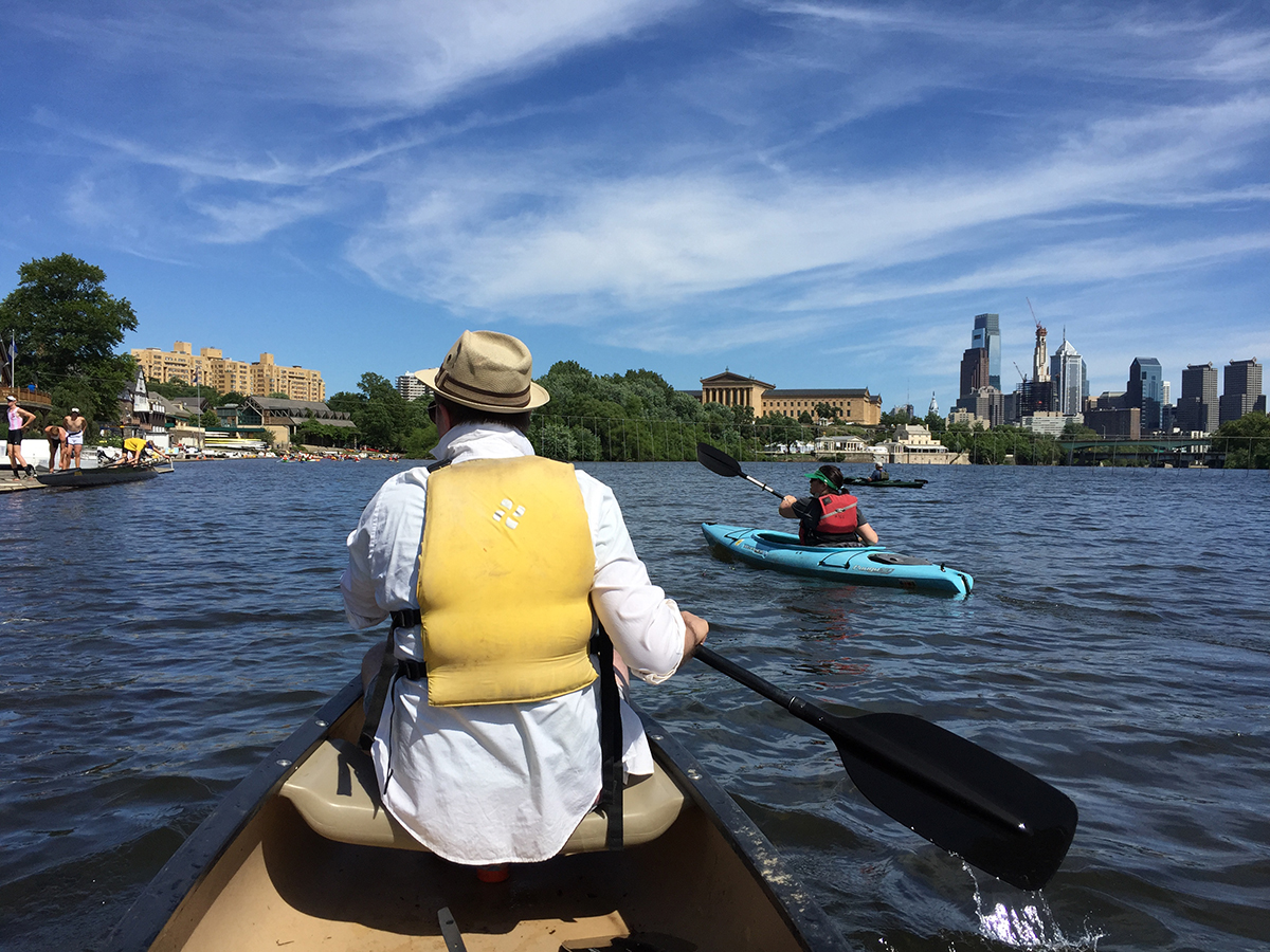 Philadelphia Water's Paul Fugazzotto paddles to the finish of the 2016 Schuylkill Sojourn. A record 205 people joined the annual event this year. Photo credit: Brian Rademaekers