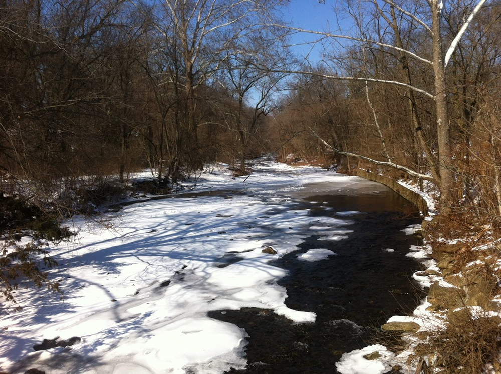 The beautiful Tacony Creek in winter. Smart use of deicing products can help minimize impacts on our watersheds. Credit: TTF Watershed Partnership.