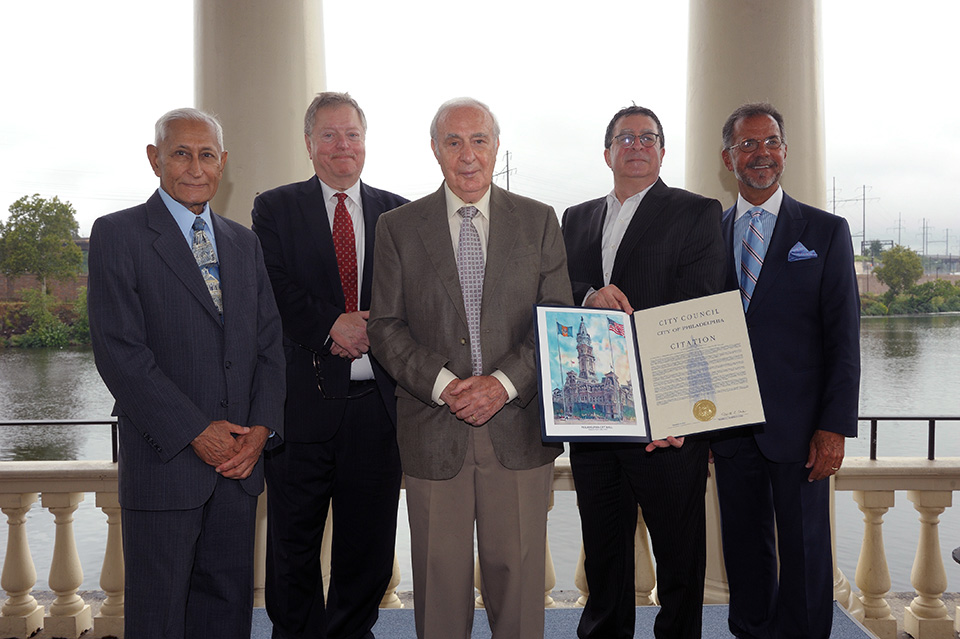 From left to right: Kumar Kishinchand (1992-2000 and 2001-2004), Bernard Brunwasser (2004-2011), Carmen F. Guarino (1972-1980), Howard Neukrug (2011-present) and William Marrazzo (1980-1988)