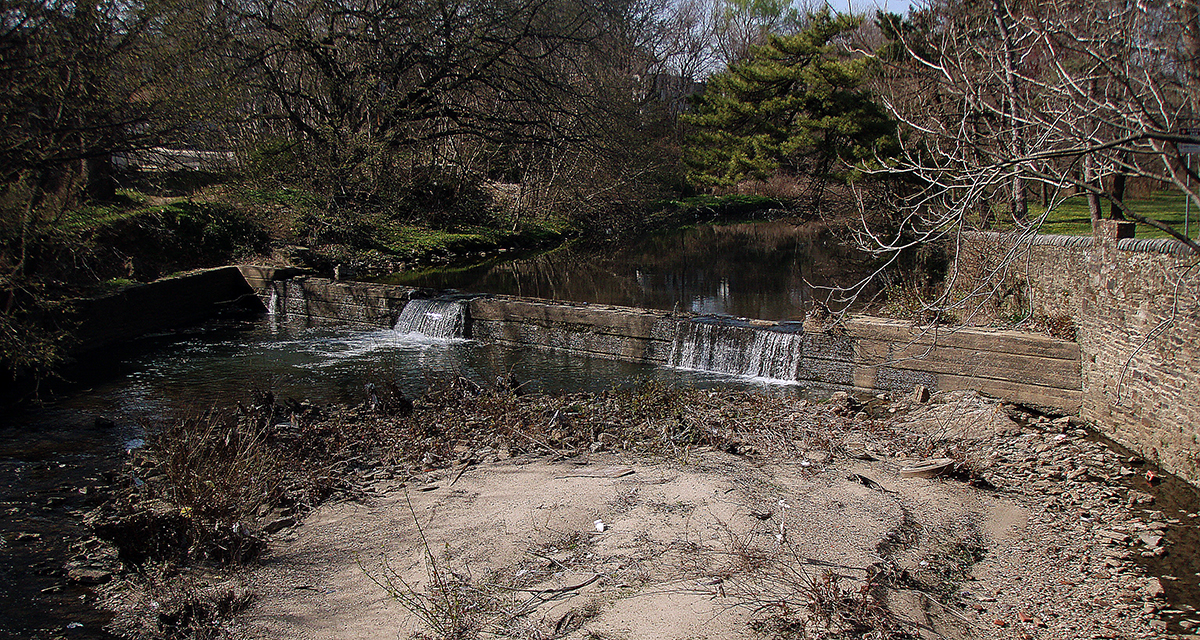 The Woodland Dam is currently preventing many species of fish from reaching the upper parts of Cobbs Creek. Philadelphia Water and the Army Corps are planning to remove it. Credit: Philadelphia Water.